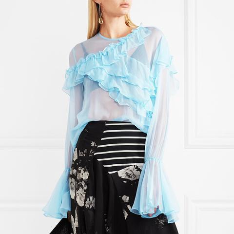 Marika Ruffled Silk-Chiffon Blouse