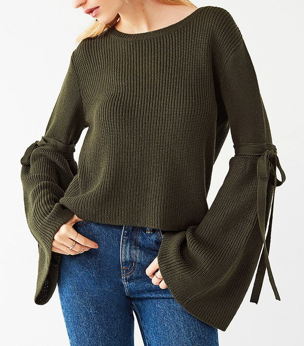 Silence + Noise Justine Extreme Bell Sleeve Sweater