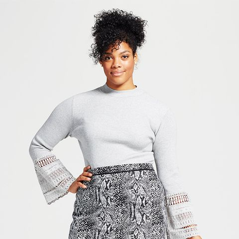 Lace Bell Sleeve Ribbed Crew