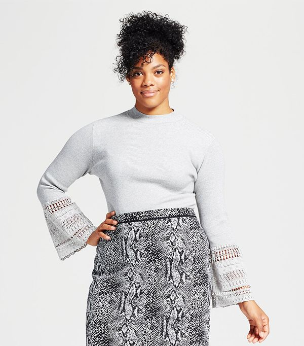 Plus Size Lace Bell Sleeve Ribbed Crew