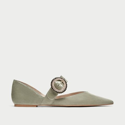 Bejewelled Leather Ballerinas