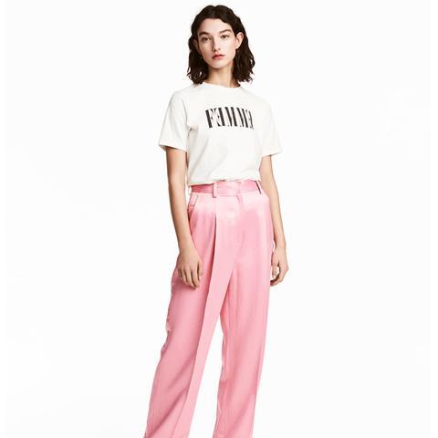Wide-Cut Satin Suit Pants