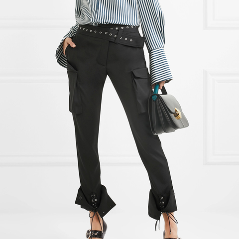 Eyelet-Embellished Wool-Blend Skinny Pants