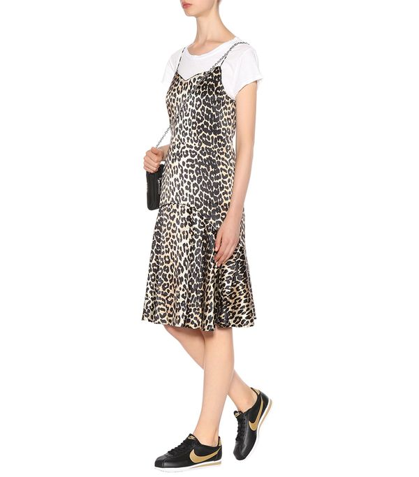 Dufort leopard-printed silk slip dress