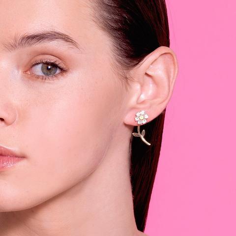 Diamond Teddy Flower Earrings