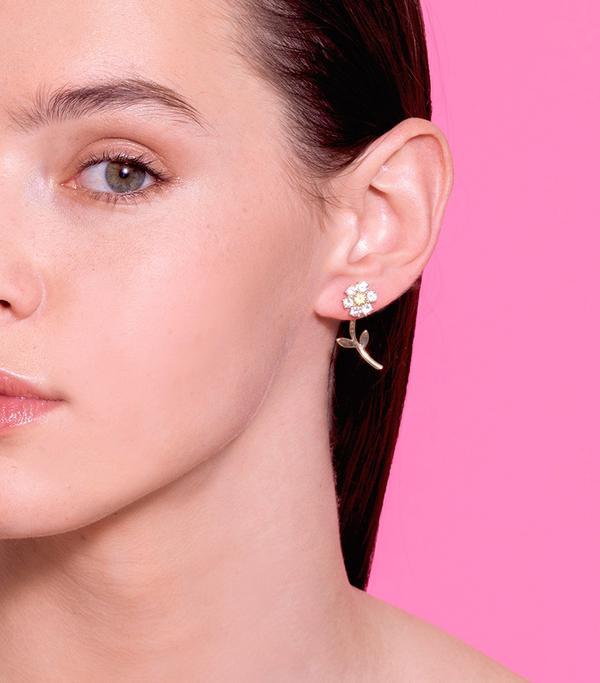 The Last Line Diamond Teddy Flower Earrings