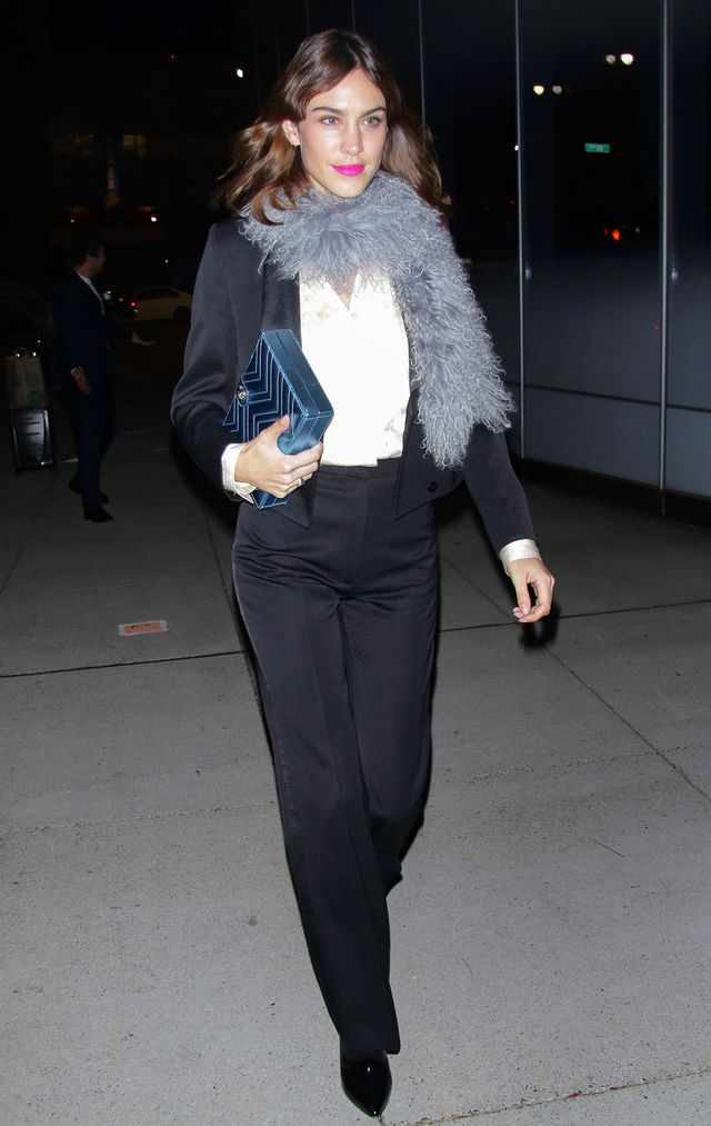 On Alexa Chung: AlexaChung Tuxedo Jacket ($375) and High Waist Trousers ($225)