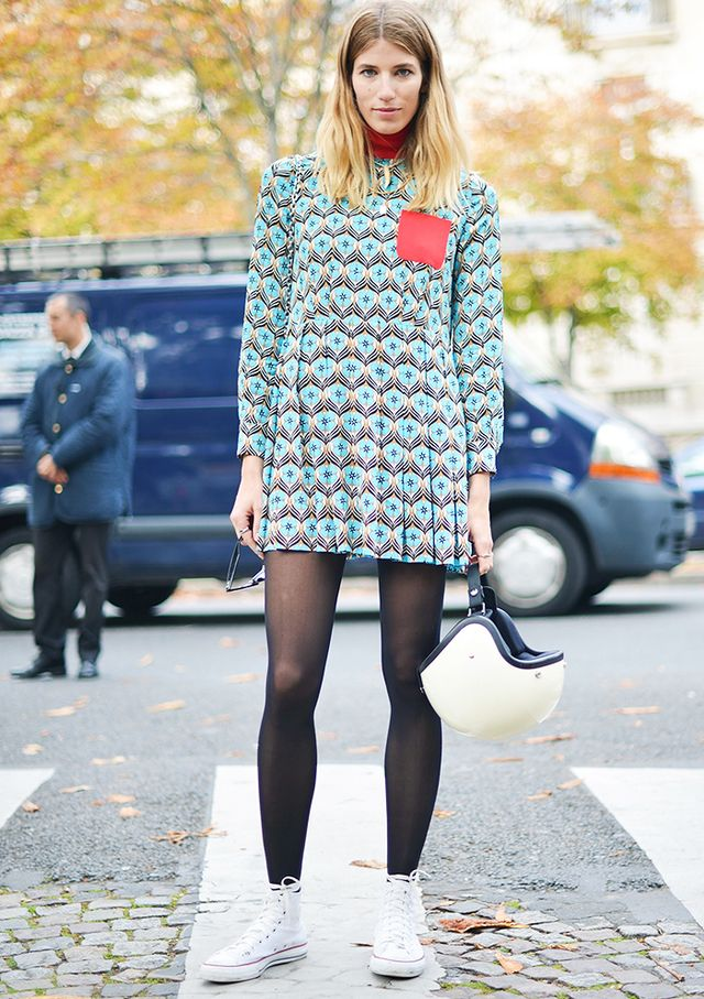 Black Tights and White Sneakers: Proof It Isn't a Faux Pas ...