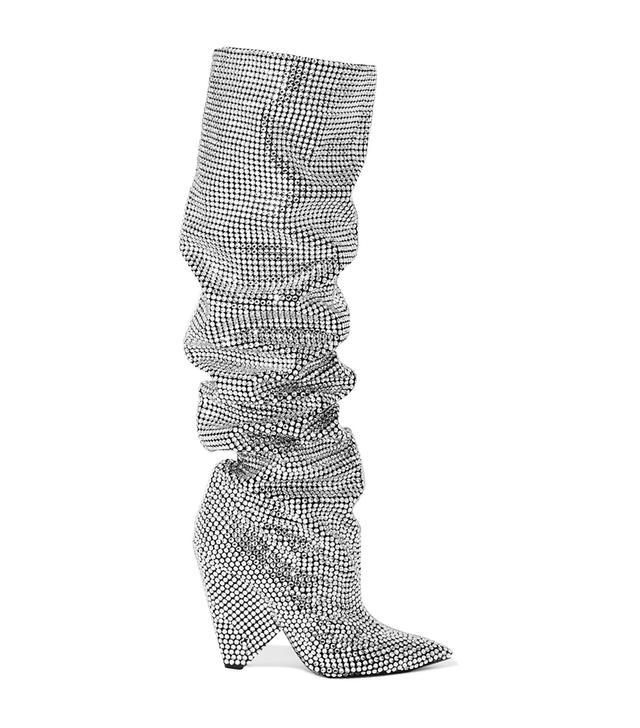 Niki Swarovski Crystal-embellished Leather Knee Boots