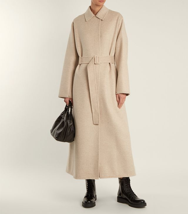 Luster double-faced long-line coat