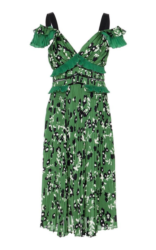 Cold Shoulder Floral Printed Midi Dress