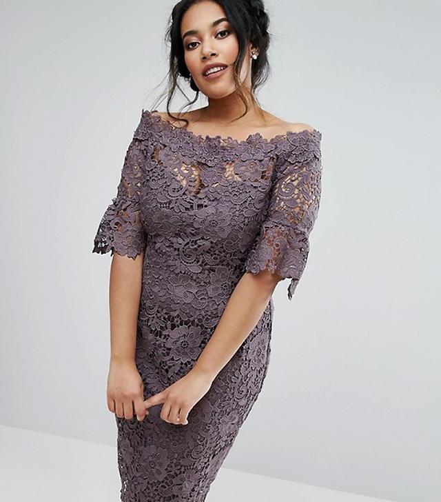 Bardot Crochet Dress With Fluted Sleeve