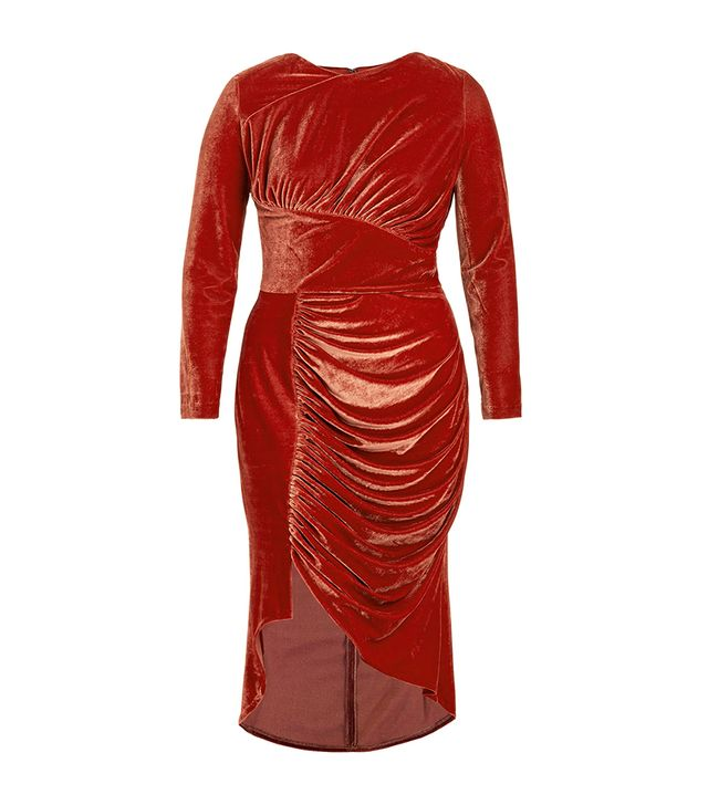 Christian Siriano Ruched Velvet Dress