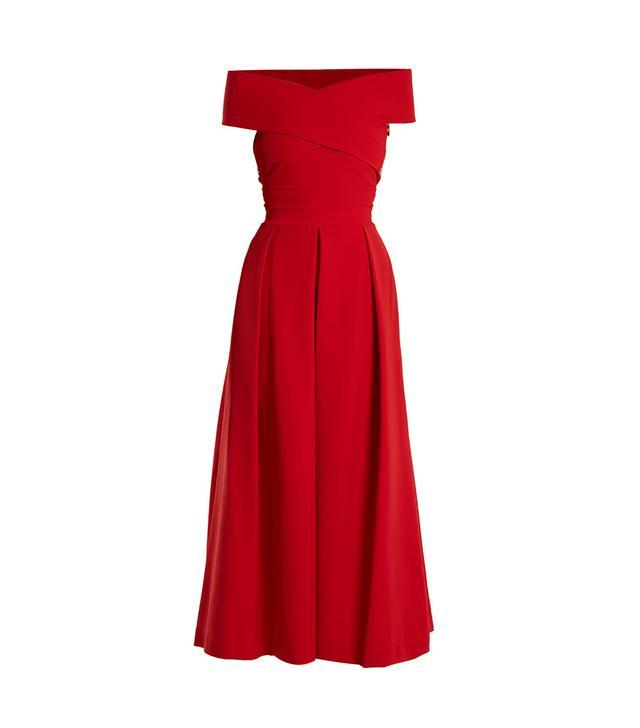 Virginia off-the-shoulder cady dress