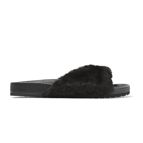 Garrison Shearling-Trimmed Leather Slides