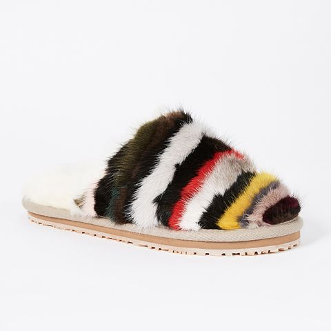 Mink Stripey Slippers