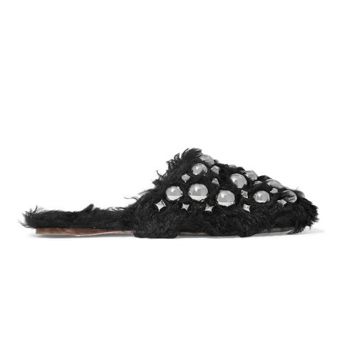 Studded Shearling Slippers