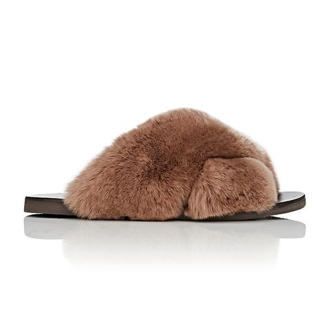 Rabbit Fur Crisscross-Strap Slide Sandals