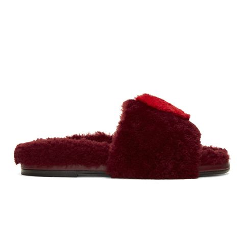 Burgundy Shearling Heart Slides