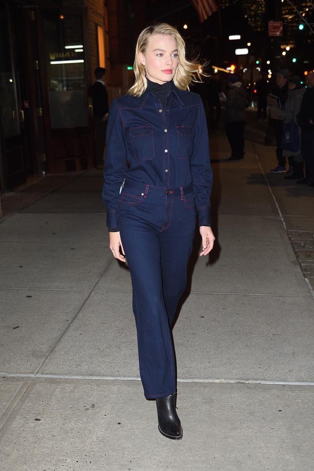 On Margot Robbie:Calvin Klein 205 W39 NYCWestern Denim Shirt ($495) andWide-Legged Jeans ($385)