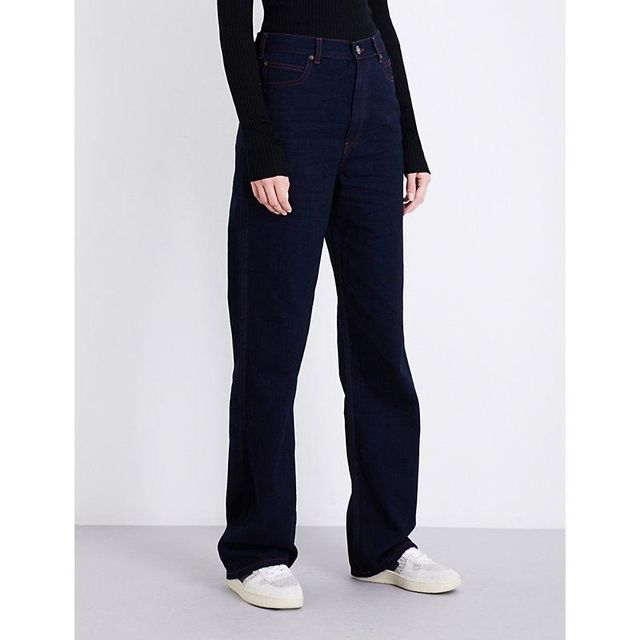Wide-leg straight high-rise jeans