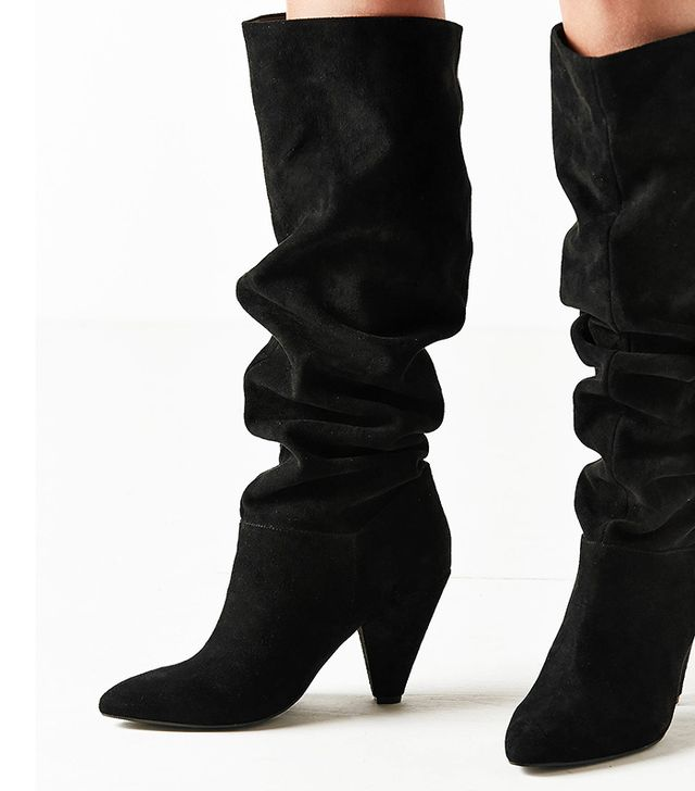 Tess Faux Suede Scrunched Knee-High Boot
