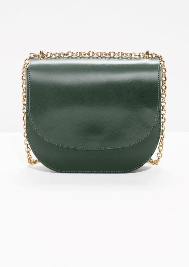 Chained Leather Saddle Bag