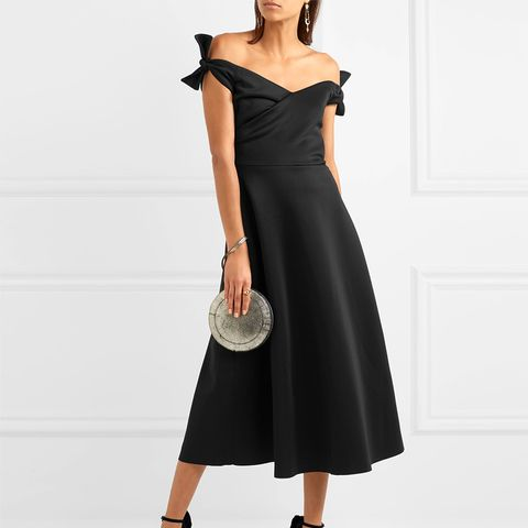 Ruth Off-the-Shoulder Neoprene Midi Dress