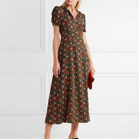 Hooded Floral-Print Crepe Midi Dress