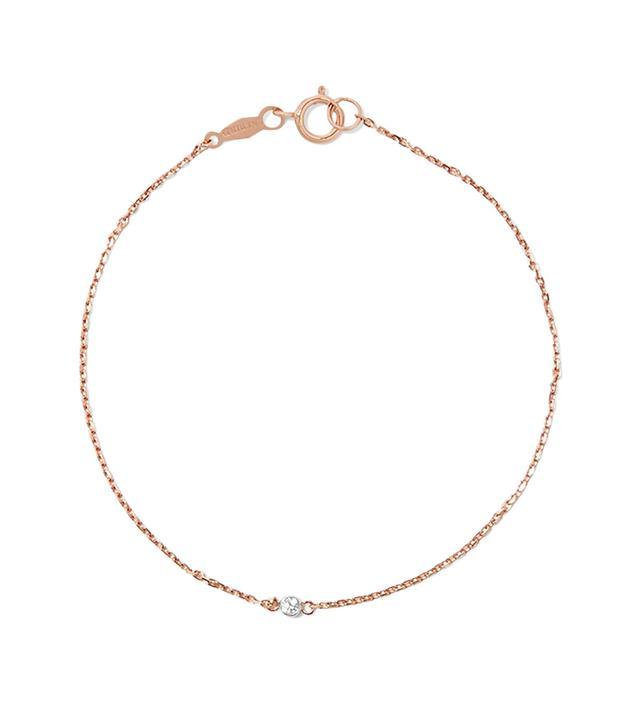 Tiny Corsage 14-karat Rose Gold Diamond Bracelet