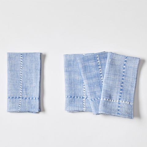 Textiles Blue Pulled Napkin