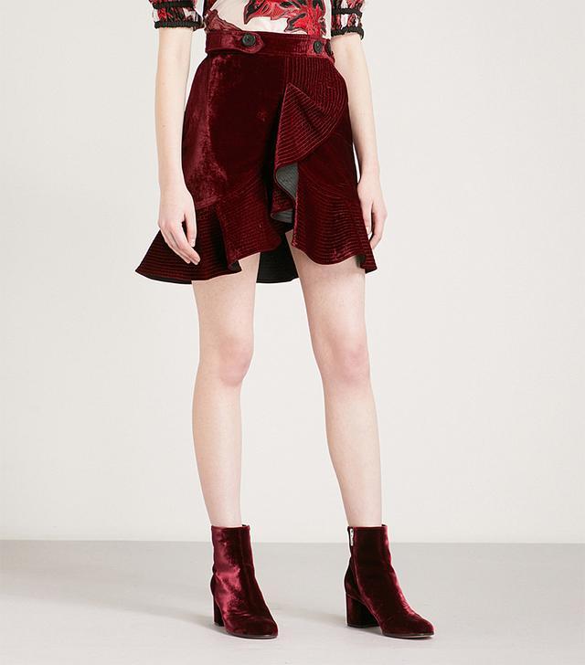 Self-Portrait Flounced Velvet Miniskirt