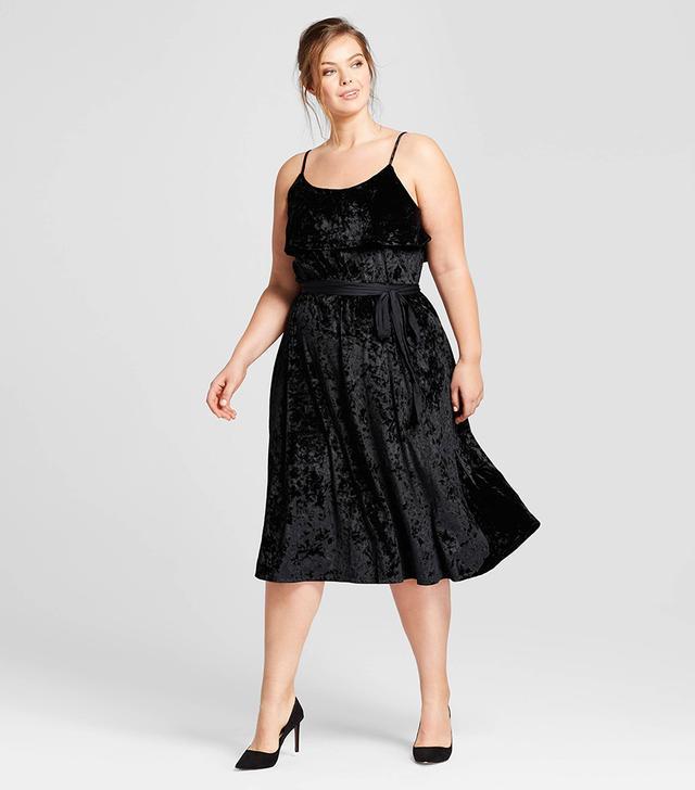 Who What Wear Satin Tie Velvet Midi Dress