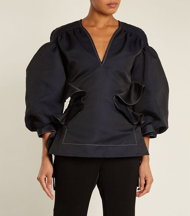 Ellery Angel Puff-Sleeved Ruffle-Trimmed Top