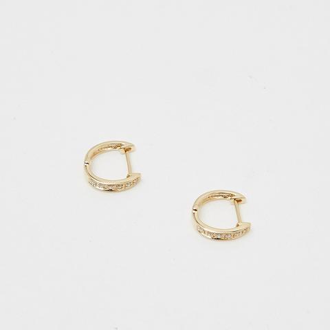 14K Diamond Hoops