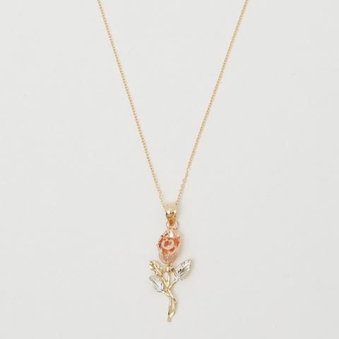 14K Tri-Color Rose Necklace