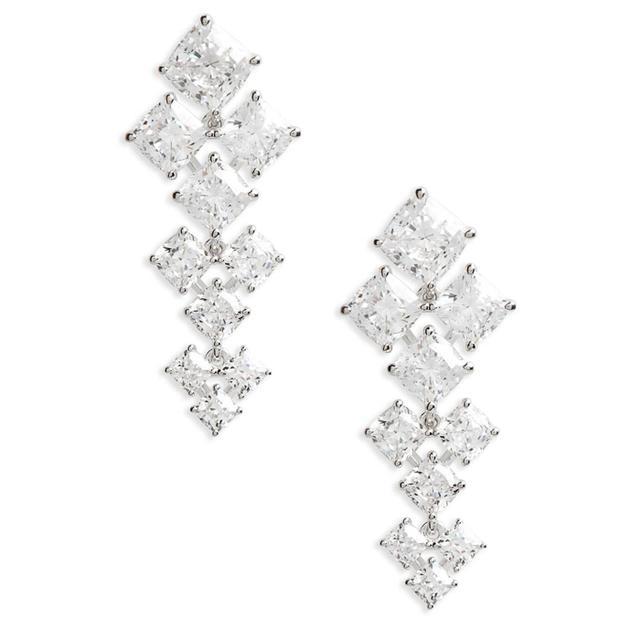 Floral Crystal Linear Drop Earrings