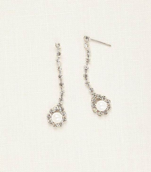 David's Bridal Crystal Linear Earings With Pearl Drop