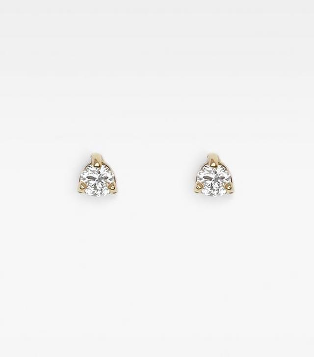 Vrai & Oro Tiny White Diamond Studs