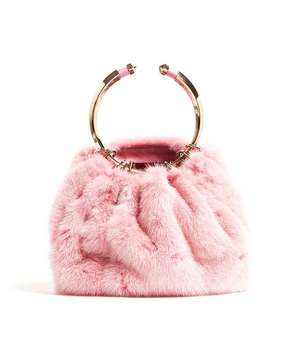 Bebop fur ring clutch bag