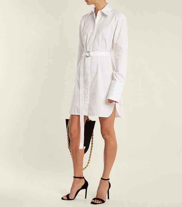 Striped tie-waist cotton shirtdress