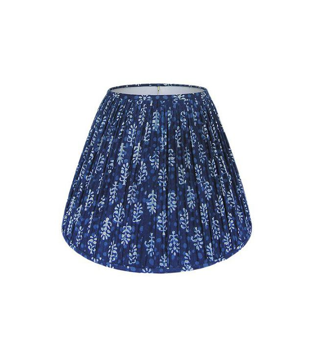 Chairish Indigo Blue Block Print Gathered Lamp Shade