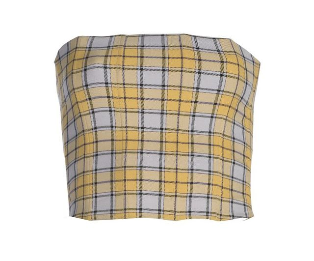 Yellow plaid tube top