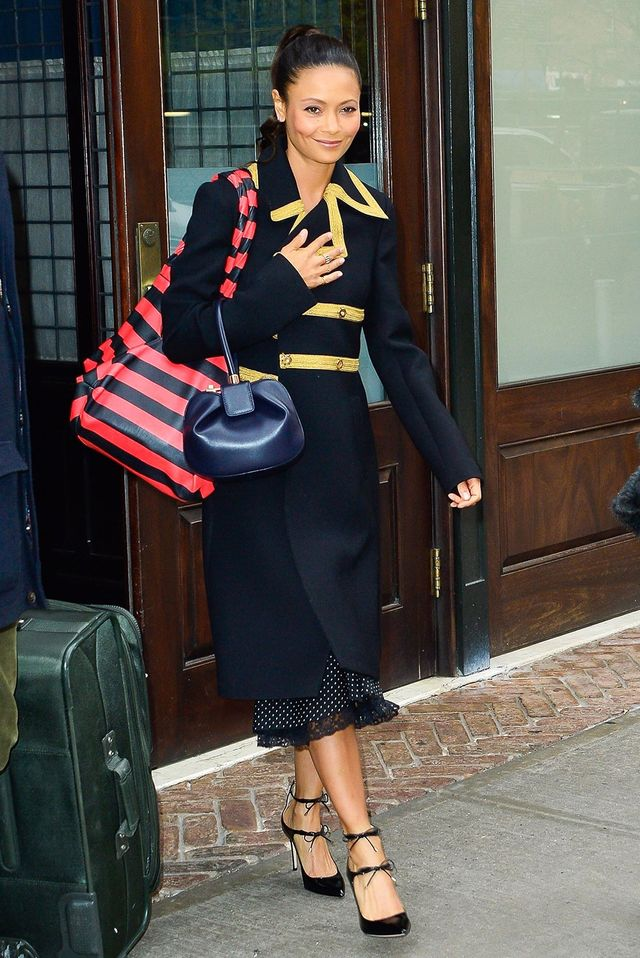 On Thandie Newton: Dolce & Gabbana Metallic-Trimmed Wool-Blend Crepe Coat ($2517); Jimmy Choo Sage Pumps ($556); Gabriela Hearst Nina Bag(price upon request); Jessica Biales Oval Signet with...