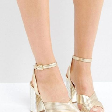 Petrusa Metallic Block Heel Sandals