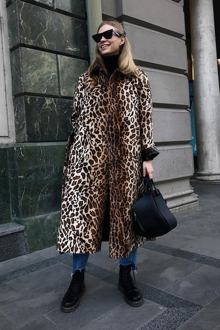 best leopard print coats: tine andreaa in a leopard print coat