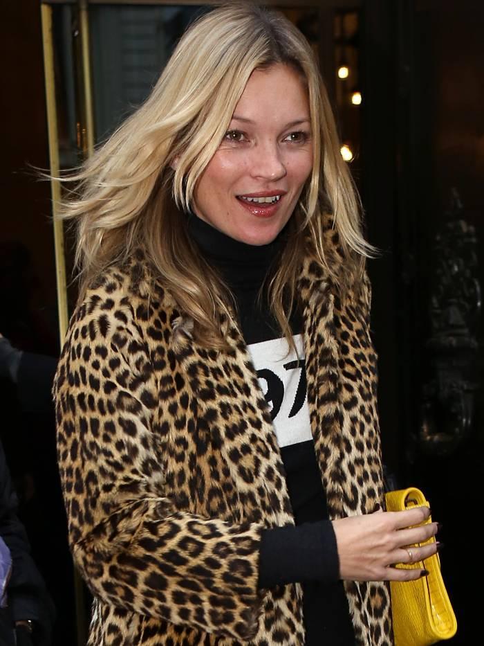 best leopard print coats: kate moss wearing a leopard print coat