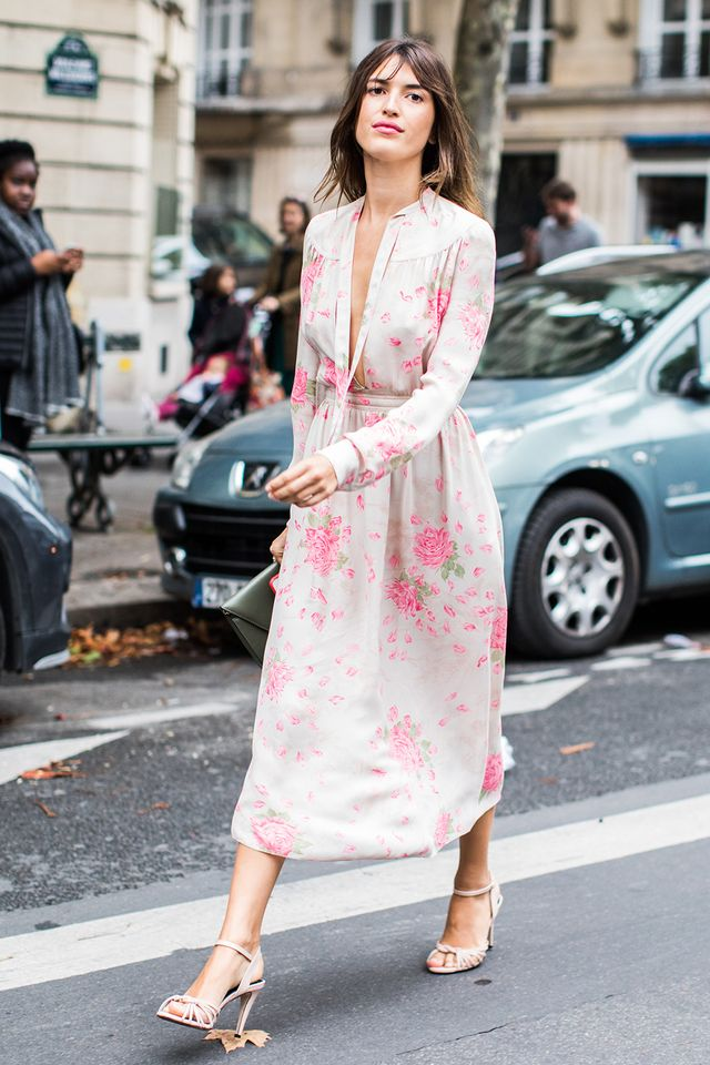 midi dress and heels, street style