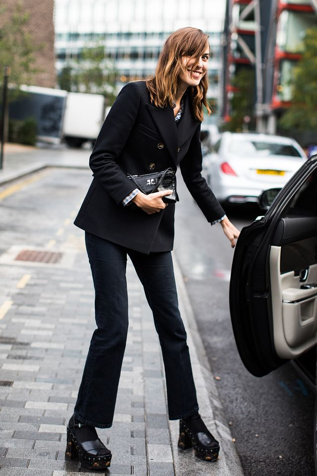 monochromatic suit outfit