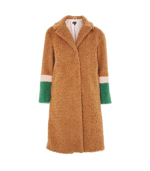 Colour Block Teddy Coat